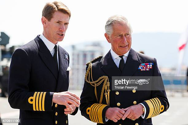 Prince Charles Prince of Wales is met by Commanding Officer Captain Nick CookePriest at a reception on HMS Bulwark where he met decendants of the...