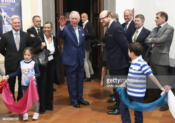 Prince Charles Prince of Wales is met by Director General of the Strozzi Foundation Arturo Galansino as he visits Palazzo Strozzi and unveils a...