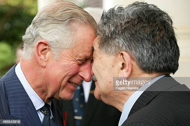 Prince Charles Prince of Wales is welcomed with a hongi from Government House Kaumatua Mr Lewis Moeau during a welcome ceremony at Government House...