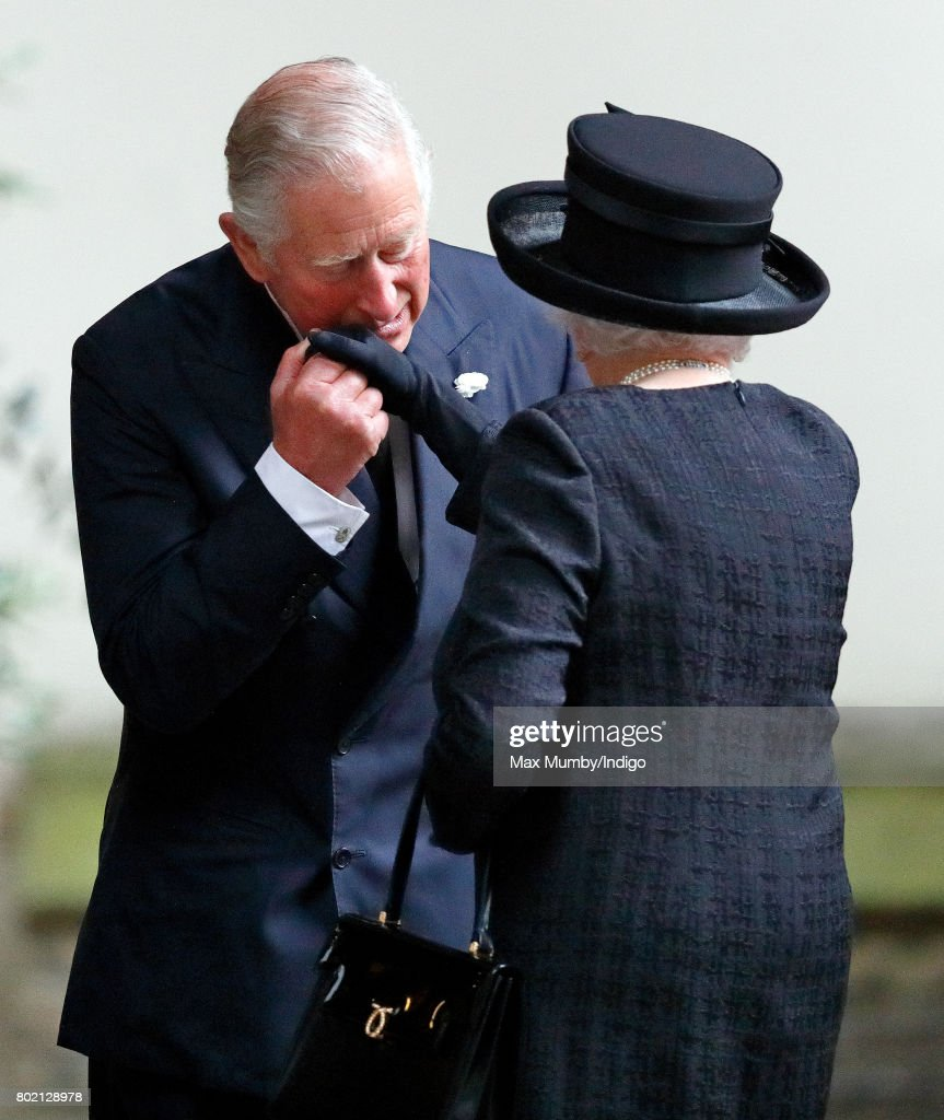Prince Charles, Prince of Wales kisses his mother Queen Elizabeth II as they attend the funeral of Patricia Knatchbull, Countess Mountbatten of Burma at St Paul's Church Knightsbridge on June 27, 2017 in London, England. Patricia, Countess Mountbatten of Burma daughter of Louis Mountbatten, 1st Earl Mountbatten of Burma and third cousin of Queen Elizabeth II died aged 93 on June 13 2017.
