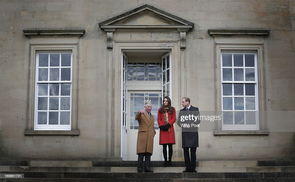 <a gi-track='captionPersonalityLinkClicked' href=/galleries/search?phrase=Prince+Charles&family=editorial&specificpeople=160180 ng-click='$event.stopPropagation()'>Prince Charles</a>, Prince of Wales, known as the Duke of Rothesay, <a gi-track='captionPersonalityLinkClicked' href=/galleries/search?phrase=Catherine+-+Duchess+of+Cambridge&family=editorial&specificpeople=542588 ng-click='$event.stopPropagation()'>Catherine</a>, Duchess of Cambridge, known as the Countess of Strathearn, and <a gi-track='captionPersonalityLinkClicked' href=/galleries/search?phrase=Prince+William&family=editorial&specificpeople=178205 ng-click='$event.stopPropagation()'>Prince William</a>, Duke of Cambridge, known as the Earl of Strathearn, when in Scotland during a visit to Dumfries House on March 05, 2013 in Ayrshire, Scotland. The Duke and Duchess of Cambridge braved the bitter cold to attend the opening of an outdoor centre in Scotland today. The couple joined the Prince of Wales at Dumfries House in Ayrshire where Charles has led a regeneration project since 2007. Hundreds of locals and 600 members of youth groups including the Girl Guides and Scouts turned out for the official opening of the Tamar Manoukin Outdoor Centre.