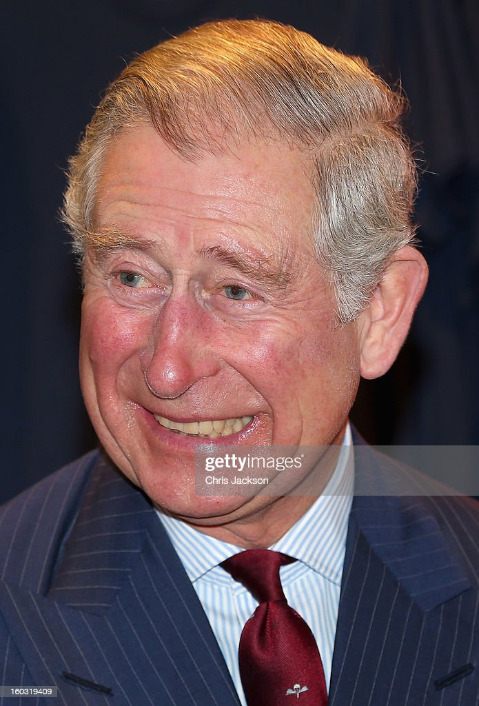 Prince Charles, Prince of Wales laughs as he visits Circle Sports in North London on January 29, 2013 in London, England. The Prince of Wales, President, Business in the Community, led a group of senior business leaders on a Seeing is Believing visit to an organisation supported by BITC, Circle Sports.