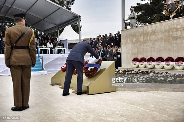 Prince Charles Prince of Wales lays a wreath at a commemorative ceremony marking the centenary of the Gallipoli campaign at the Turkish 57th Regiment...