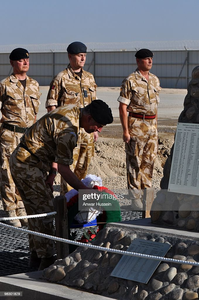Prince Charles Prince of Wales lays a wreath at the Camp Bastion memorial in memory of those British soldiers killed during the campaign on March 25...