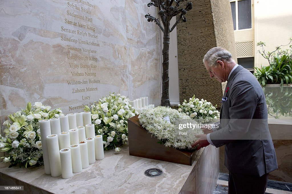 <a gi-track='captionPersonalityLinkClicked' href=/galleries/search?phrase=Prince+Charles+-+Prince+of+Wales&family=editorial&specificpeople=160180 ng-click='$event.stopPropagation()'>Prince Charles</a>, Prince of Wales lays a wreath at the Mumbai Massacre Memorial at the Taj Palace during day 4 of an official visit to India on November 9, 2013 in Mumbai, India. This will be the Royal couple's third official visit to India together and their most extensive yet, which will see them spending nine days in India and afterwards visiting Sri Lanka in order to attend the 2013 Commonwealth Heads of Government Meeting.