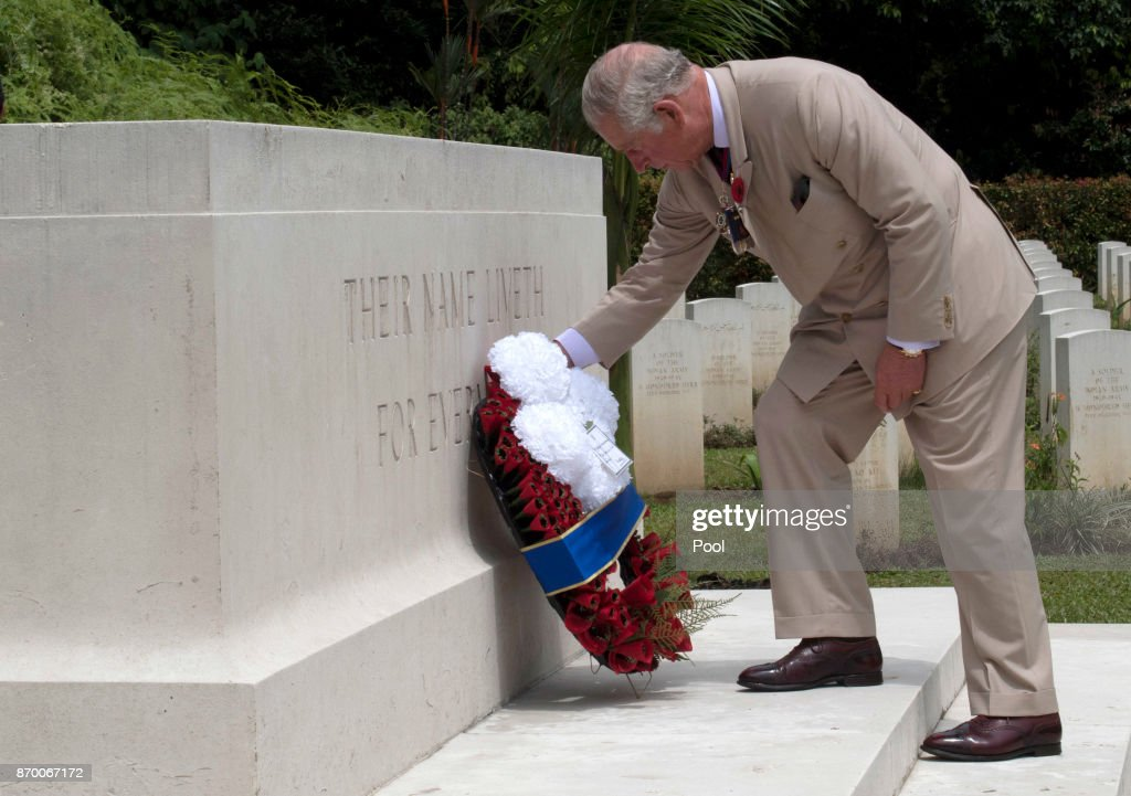 Prince Charles, Prince of Wales lays a wreath during a visit to the Taiping Commonwealth War Graves Cemetery on November 04, 2017 in Taiping Malaysia.