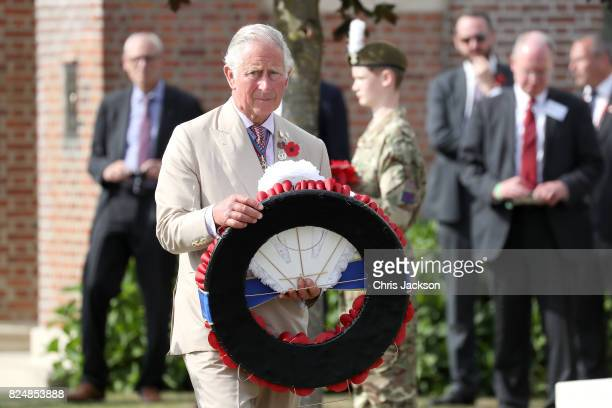 Prince Charles Prince of Wales lays a wreath during a visit to Artillery Wood Cemetery which includes the graves of poets Hedd Wyn Francis Ledwidge...