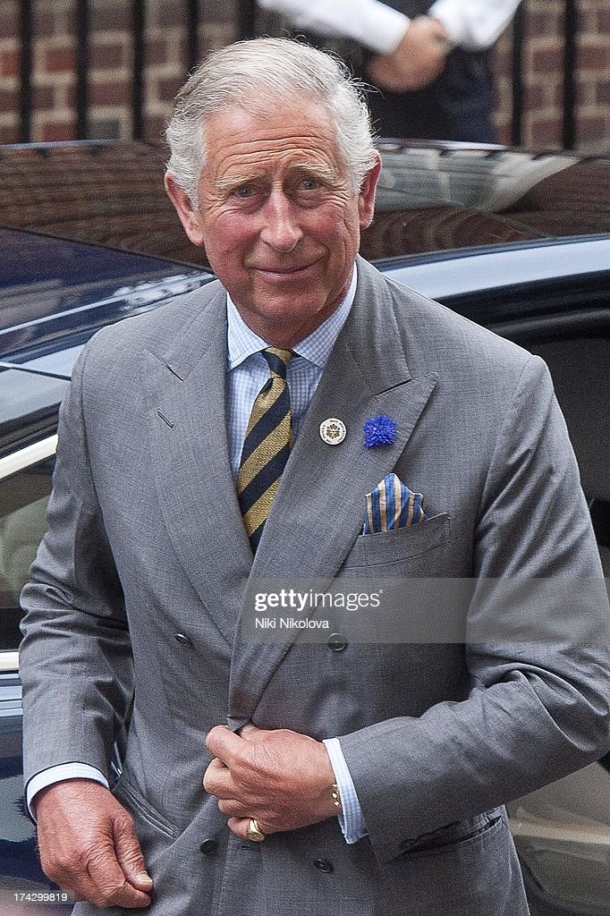 <a gi-track='captionPersonalityLinkClicked' href=/galleries/search?phrase=Prince+Charles&family=editorial&specificpeople=160180 ng-click='$event.stopPropagation()'>Prince Charles</a>, Prince of Wales leaving the Lindo Wing after visiting The Duke and Duchess Of Cambridge and their newborn son at St Mary's Hospital on July 23, 2013 in London, England.