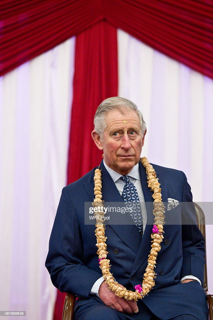Prince Charles, Prince Of Wales listens to speeches during a tour of the Jain Temple on January 22, 2015 in Potters Bar, Hertfordshire, England. The Prince Of Wales was later presented with the Ahimsa Award which recognises individuals who show compassion and tolerance to humanity, animals and the environment.
