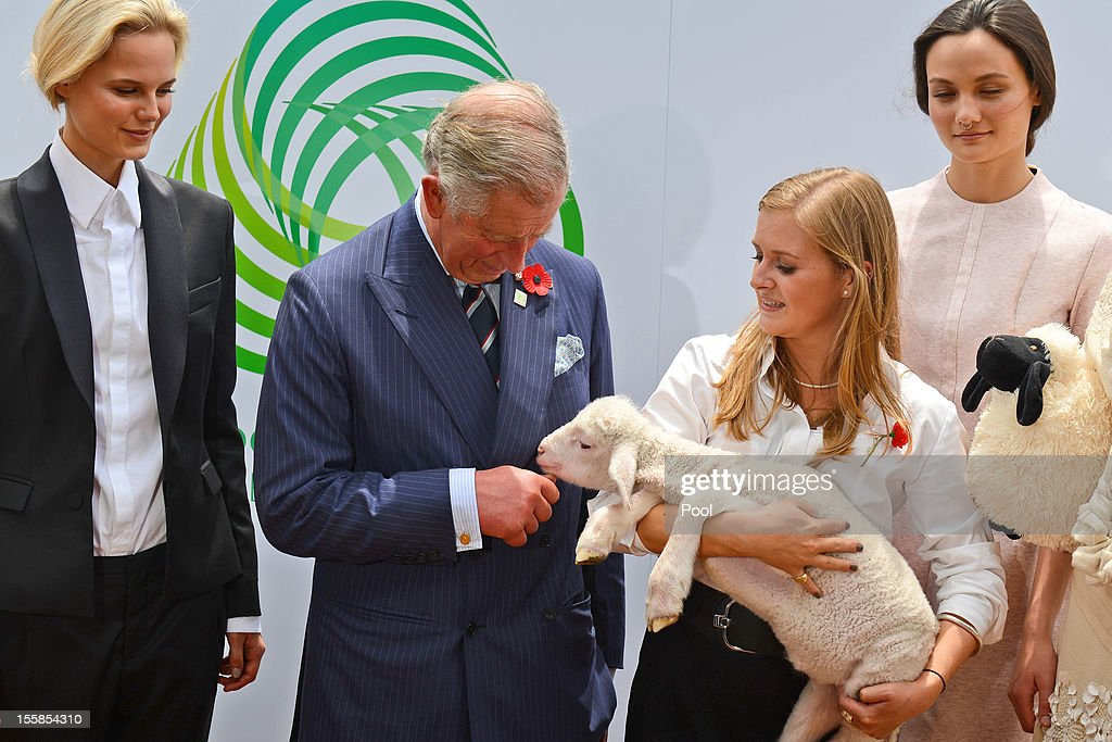 <a gi-track='captionPersonalityLinkClicked' href=/galleries/search?phrase=Prince+Charles&family=editorial&specificpeople=160180 ng-click='$event.stopPropagation()'>Prince Charles</a>, Prince of Wales (2/L), looks at a lamb carried by Annie Ashby (2/R) as models wearing outfits made of wool look on at The Campaign for Wool eventon November 9, 2012 in Sydney, Australia. The Royal couple are in Australia on the second leg of a Diamond Jubilee Tour taking in Papua New Guinea, Australia and New Zealand.