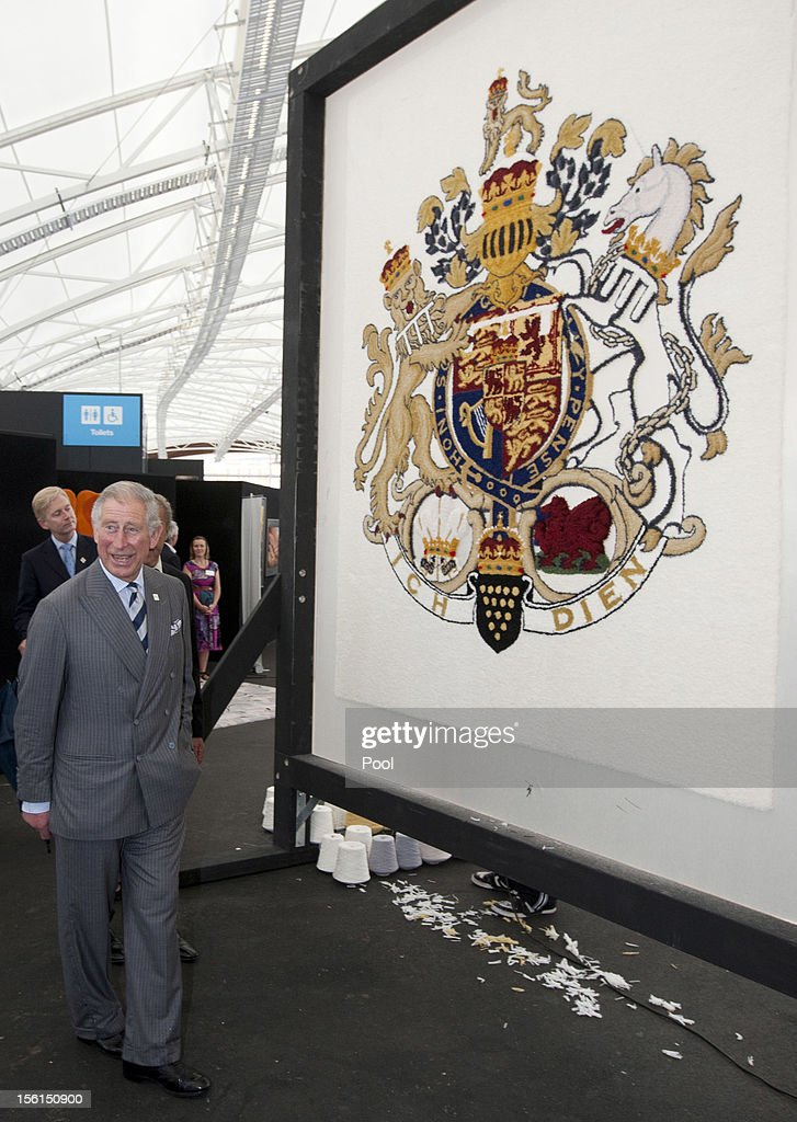 <a gi-track='captionPersonalityLinkClicked' href=/galleries/search?phrase=Prince+Charles&family=editorial&specificpeople=160180 ng-click='$event.stopPropagation()'>Prince Charles</a>, Prince of Wales looks at a wool carpet featuring the royal crest at a New Zealand Sheer Brilliance event in the Cloud on November 12, 2012 in Auckland, New Zealand. The Royal couple are in New Zealand on the last leg of a Diamond Jubilee that takes in Papua New Guinea, Australia and New Zealand.