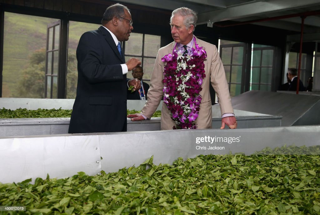 Prince Charles, Prince of Wales looks at tea being dried as he visits the Mackwoods Labookellie Tea Estate on Day 3 of a visit to Sri Lanka on November 16, 2013 in Nuwara Eliya, Sri Lanka. The Royal couple are visiting Sri Lanka in order to attend the 2013 Commonwealth Heads of Government Meeting.Prince Charles, representing the Queen will open the meeting.