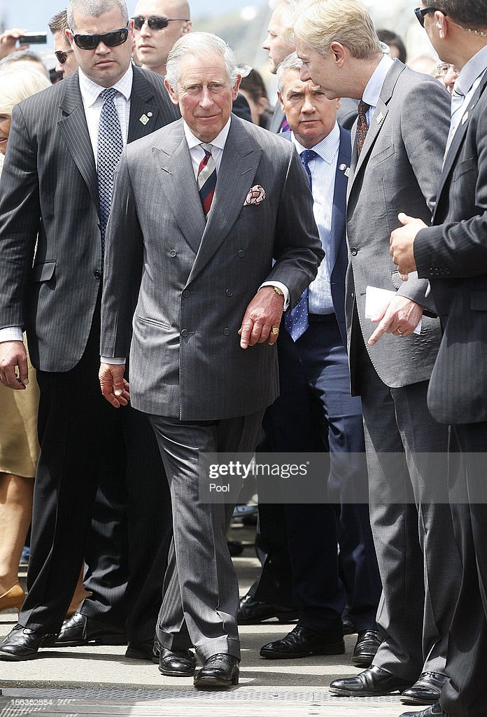 Prince Charles, Prince of Wales looks on during a walkabout along the wharf waterfront on November 14, 2012 in Wellington, New Zealand. The Royal couple are in New Zealand on the last leg of a Diamond Jubilee that takes in Papua New Guinea, Australia and New Zealand.