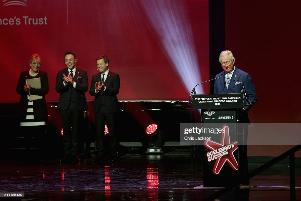 Prince Charles, Prince of Wales makes a joke as presenters Anthony McPartlin and Declan Donnelly look on during the Prince's Trust Celebrate Success Awards at the London Palladium on March 7, 2016 in London, England.