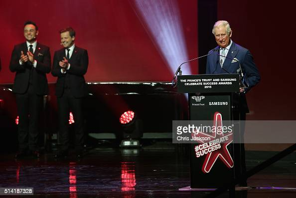 Prince Charles Prince of Wales makes a joke as presenters Anthony McPartlin and Declan Donnelly look on during the Prince's Trust Celebrate Success...
