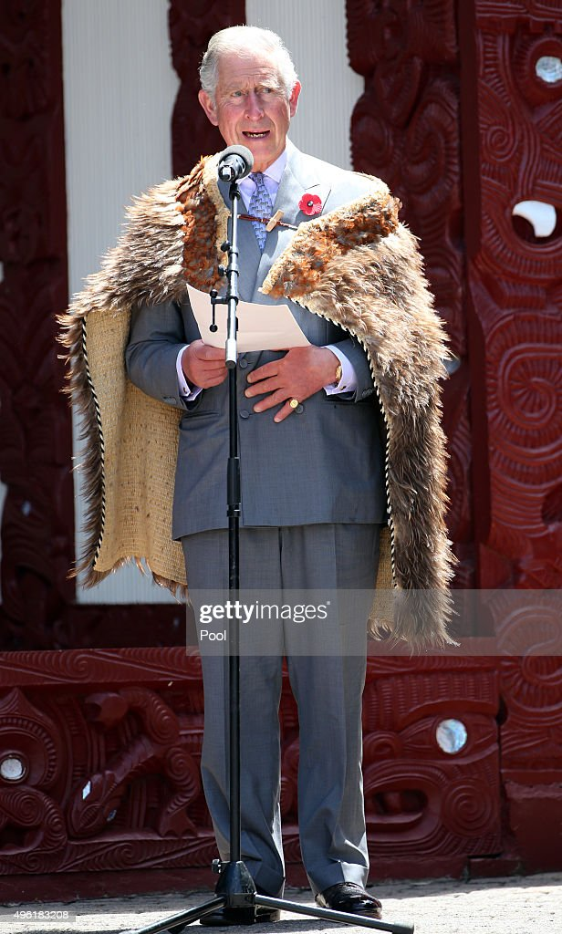 Prince Charles, Prince of Wales makes a speach at Turangawaewae Marae wearing a 'Korowai' maori cloak made of kiwi feathers his mother Queen Elizabeth wore at the marae in 1953 at Turangawaewae Marae on November 8, 2015 in Ngaruawahia, New Zealand. The Royal couple are on a 12-day tour visiting seven regions in New Zealand and three states and one territory in Australia.