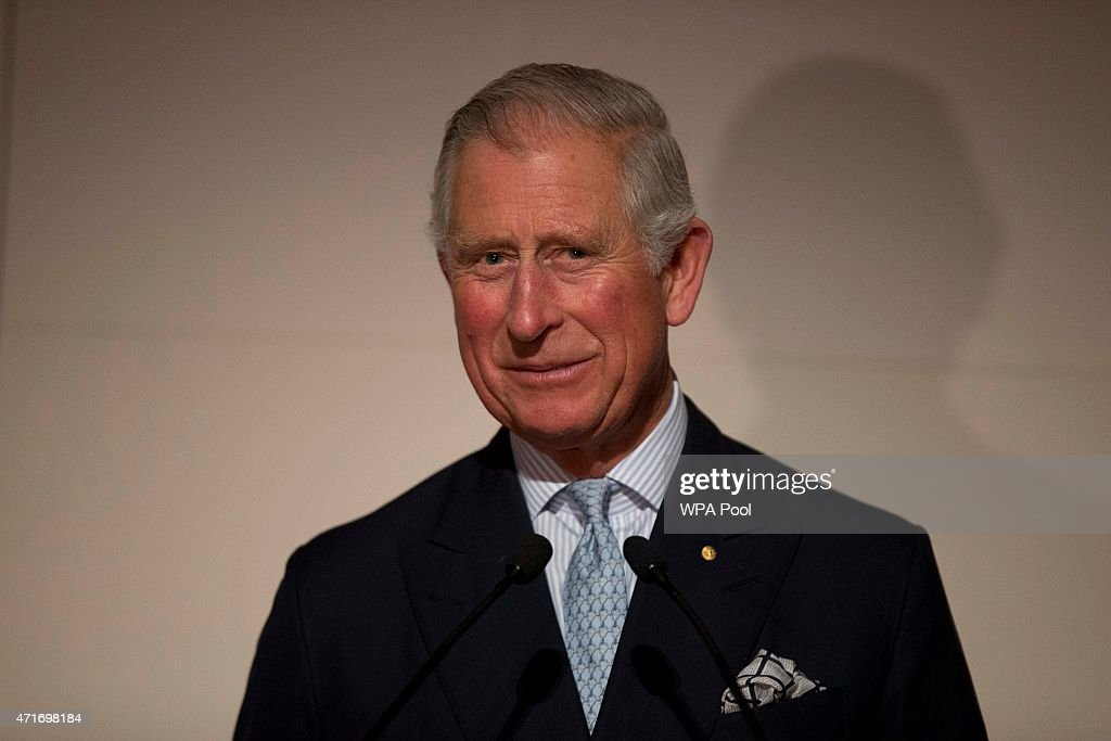Prince Charles Prince of Wales makes a speech as he visits the 'Indigenous Australia Enduring Civilisation' exhibition at the British Museum on April...