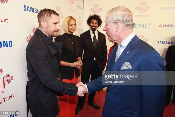 Prince Charles Prince of Wales meets actor Tom Hardy as Alesha Dixon and David Haye look as they attend The Prince's Trust Celebrate Success Awards...