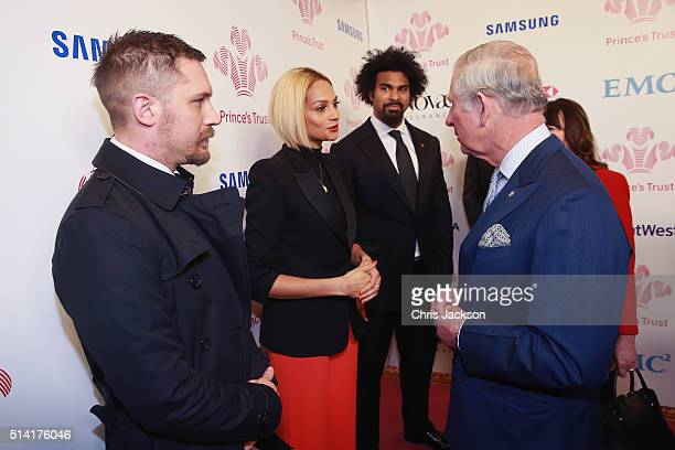 Prince Charles Prince of Wales meets Alesha Dixon as Tom Hardy and David Haye look on as they attend The Prince's Trust Celebrate Success Awards at...