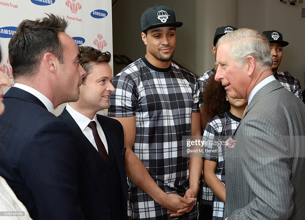 <a gi-track='captionPersonalityLinkClicked' href=/galleries/search?phrase=Prince+Charles&family=editorial&specificpeople=160180 ng-click='$event.stopPropagation()'>Prince Charles</a>, Prince of Wales (R) meets (L to R) Anthony McPartlin, <a gi-track='captionPersonalityLinkClicked' href=/galleries/search?phrase=Declan+Donnelly&family=editorial&specificpeople=206200 ng-click='$event.stopPropagation()'>Declan Donnelly</a> and <a gi-track='captionPersonalityLinkClicked' href=/galleries/search?phrase=Ashley+Banjo&family=editorial&specificpeople=5891510 ng-click='$event.stopPropagation()'>Ashley Banjo</a> attend the Prince's Trust & Samsung Celebrate Success awards at Odeon Leicester Square on March 12, 2014 in London, England.
