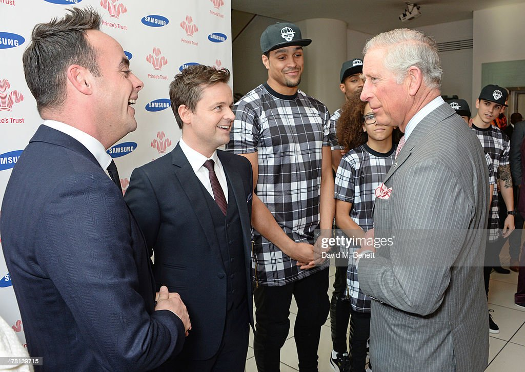 <a gi-track='captionPersonalityLinkClicked' href=/galleries/search?phrase=Prince+Charles&family=editorial&specificpeople=160180 ng-click='$event.stopPropagation()'>Prince Charles</a>, Prince of Wales (R) meets (L to R) Anthony McPartlin, <a gi-track='captionPersonalityLinkClicked' href=/galleries/search?phrase=Declan+Donnelly&family=editorial&specificpeople=206200 ng-click='$event.stopPropagation()'>Declan Donnelly</a>, <a gi-track='captionPersonalityLinkClicked' href=/galleries/search?phrase=Ashley+Banjo&family=editorial&specificpeople=5891510 ng-click='$event.stopPropagation()'>Ashley Banjo</a> and Perri Kiely attends the Prince's Trust & Samsung Celebrate Success awards at Odeon Leicester Square on March 12, 2014 in London, England.