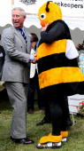 Prince Charles Prince of Wales meets beekeeper Barry WalkerMoore dressed as a Bumble Bee to raise awarness of a campaign for more research into a...