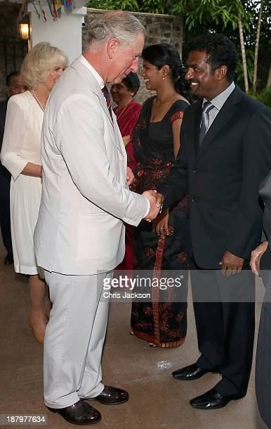 Prince Charles Prince of Wales meets cricketer Muttiah Muralitharan at the British High Commission on November 14 2013 in Colombo Sri Lanka The Royal...