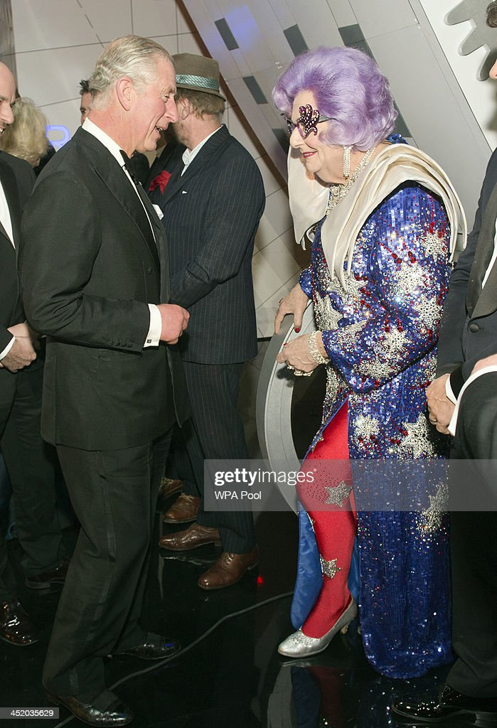 Prince Charles, Prince of Wales meets Dame Edna at the Royal Variety Performance at London Palladium on November 25, 2013 in London, England.