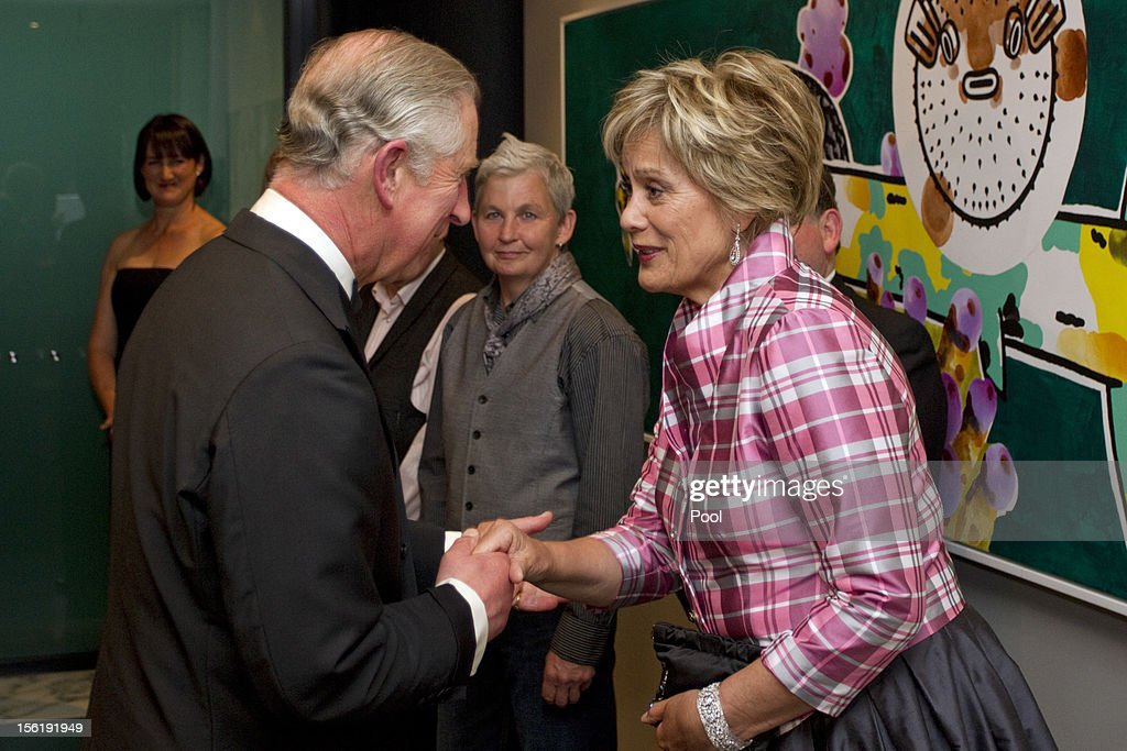 Prince Charles, Prince of Wales meets Dame Kiri Te Kanawa at a Diamond Jubilee Trust Reception and Dinner, on November 12, 2012 in Auckland, New Zealand. The Royal couple are in New Zealand on the last leg of a Diamond Jubilee that takes in Papua New Guinea, Australia and New Zealand.