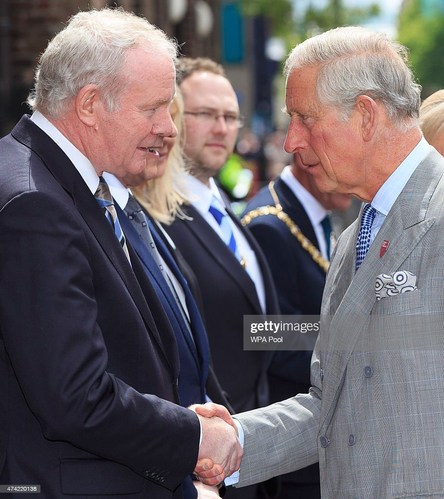 Prince Charles, Prince of Wales meets Deputy First Minister Martin McGuinness during a visit to St Patricks Church on May 21. 2015 in Belfast, Northern Ireland. Prince of Wales and the Duchess of Cornwall will attend a series of engagements in Northern Ireland following their visit in the Republic of Ireland.