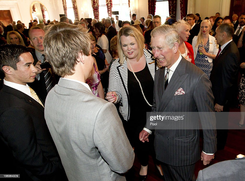 Prince Charles, Prince of Wales meets guests during his 64th birthday celebrations, at Government House on November 14, 2012 in Wellington, New Zealand. The Royal couple are in New Zealand on the last leg of a Diamond Jubilee that takes in Papua New Guinea, Australia and New Zealand.