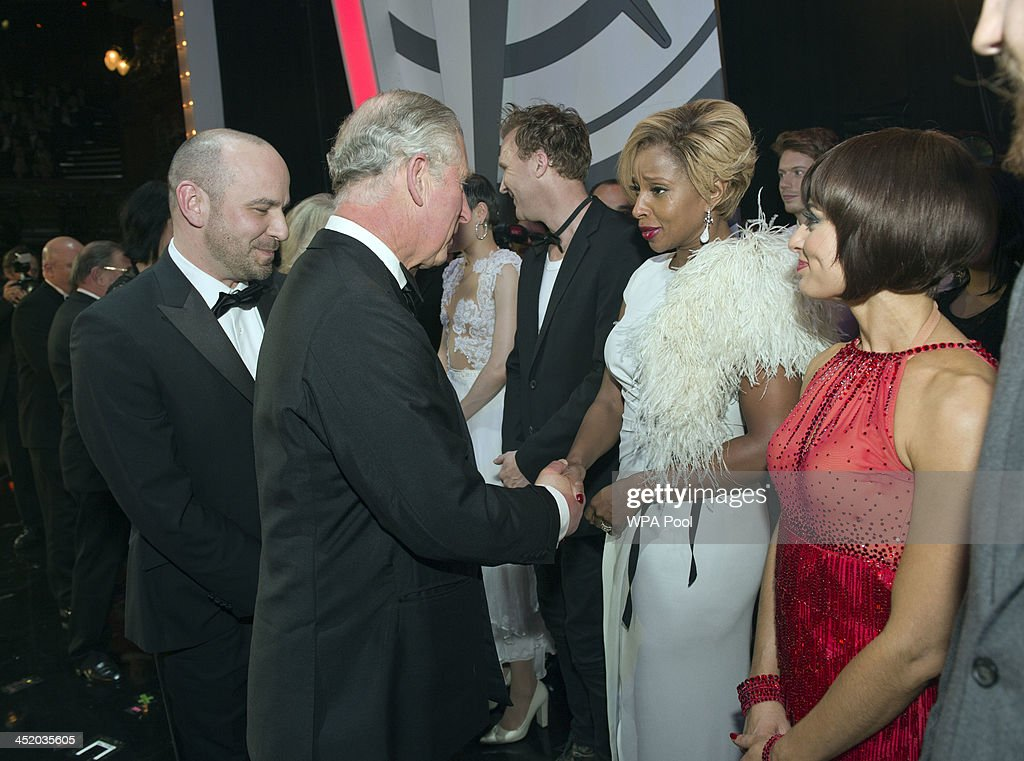 Prince Charles, Prince of Wales meets Jason Byrne, Mary J. Blige and Flavia Cacace at the Royal Variety Performance at London Palladium on November 25, 2013 in London, England.