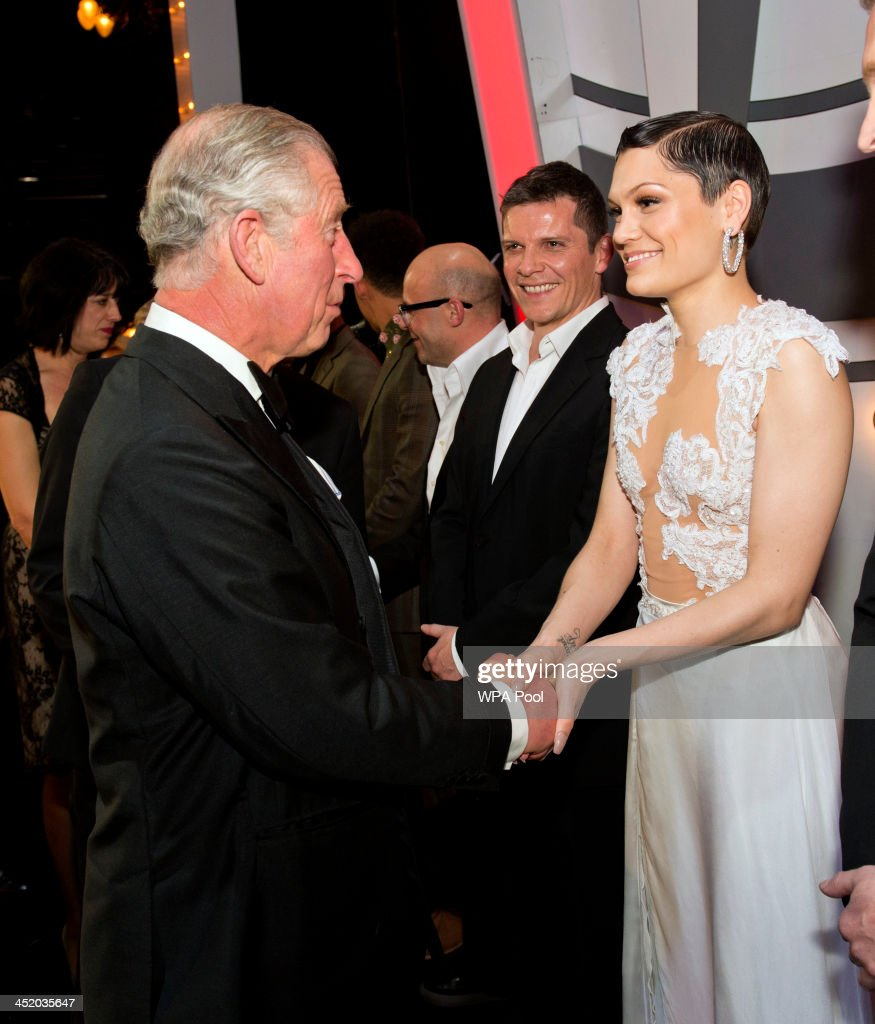 Prince Charles, Prince of Wales meets Jessie J at the Royal Variety Performance at London Palladium on November 25, 2013 in London, England.