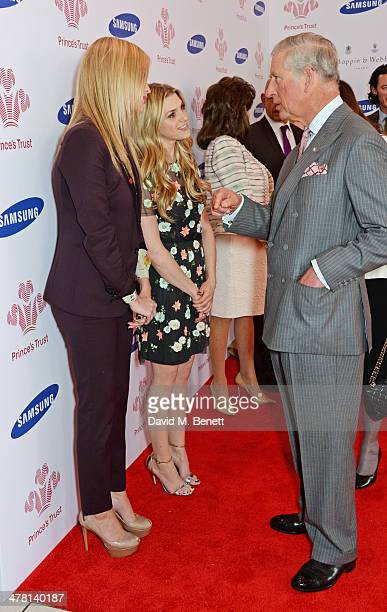 Prince Charles Prince of Wales meets Laura Whitmore and Anna Williamson at the Prince's Trust Samsung Celebrate Success awards at Odeon Leicester...