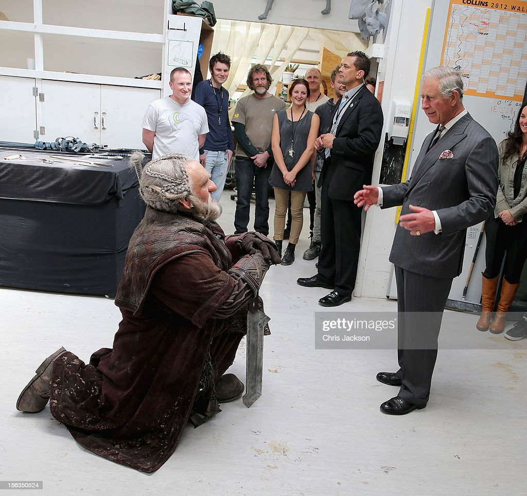 Prince Charles, Prince of Wales meets Mark Hadlow who plays Dori in the new 'Hobbit' film at Weta Workshop on November 14, 2012 in Wellington, New Zealand. The Royal couple are in New Zealand on the last leg of a Diamond Jubilee that takes in Papua New Guinea, Australia and New Zealand.