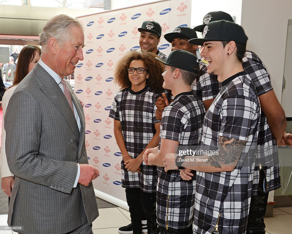 <a gi-track='captionPersonalityLinkClicked' href=/galleries/search?phrase=Prince+Charles&family=editorial&specificpeople=160180 ng-click='$event.stopPropagation()'>Prince Charles</a>, Prince of Wales (L) meets members of British dance group Diversity at the Prince's Trust & Samsung Celebrate Success awards at Odeon Leicester Square on March 12, 2014 in London, England.