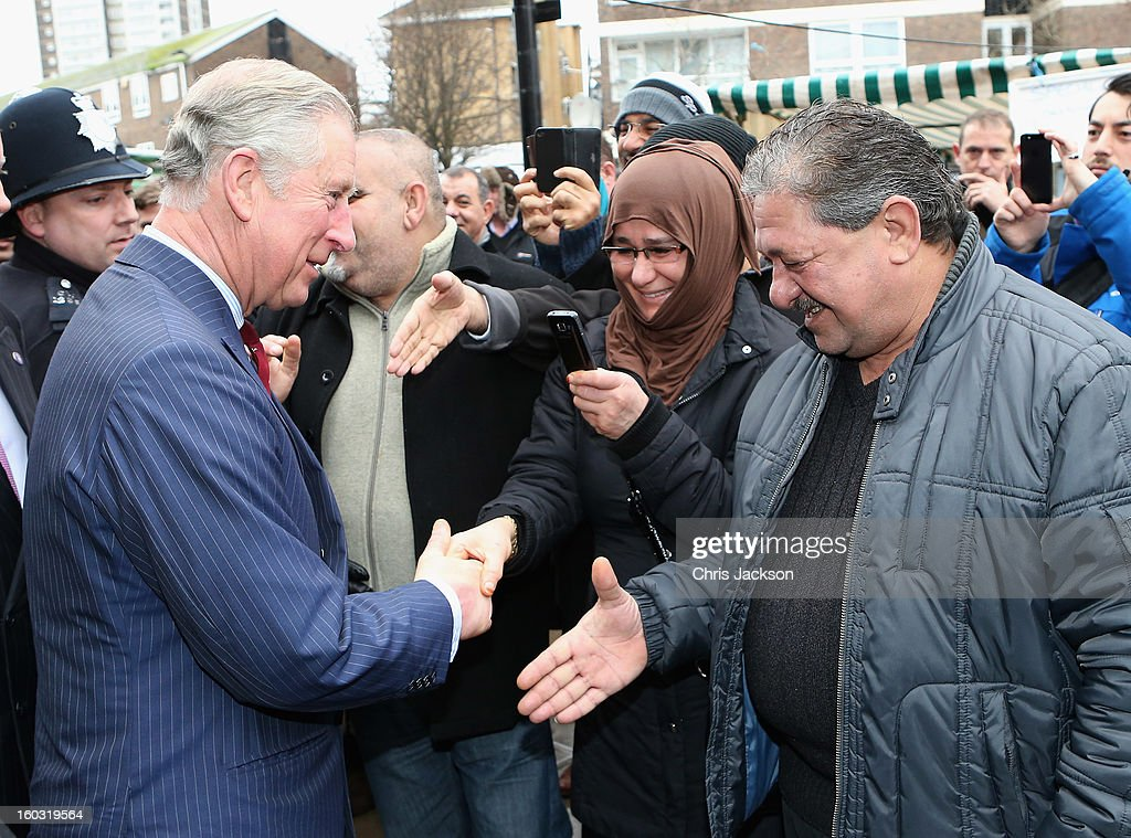 <a gi-track='captionPersonalityLinkClicked' href=/galleries/search?phrase=Prince+Charles+-+Prince+of+Wales&family=editorial&specificpeople=160180 ng-click='$event.stopPropagation()'>Prince Charles</a>, Prince of Wales meets members of the local community after a visit to Circle Sports in North London on January 29, 2013 in London, England. The Prince of Wales, President, Business in the Community, led a group of senior business leaders on a Seeing is Believing visit to an organisation supported by BITC, Circle Sports.