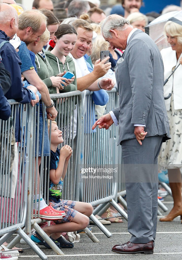 Prince Charles, Prince of Wales meets members of the public during a walkabout as he and Camilla, Duchess of Cornwall visit Padstow on day 1 of their annual summer tour of Cornwall on July 20, 2015 in Padstow, England.