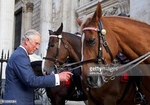 Prince Charles Prince of Wales meets mounted police officers and their horses after the the National Police Memorial Service at St Paul's Cathedral...