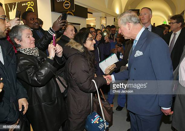 Prince Charles Prince of Wales meets patients as he makes an official visit to King's College Hospital on January 23 2014 in London England