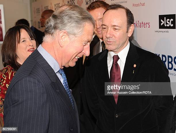 Prince Charles Prince of Wales meets Prince's Trust Ambassador Kevin Spacey at the UK finals of the 'Celebrate Success' Awards at the Odeon Leicester...