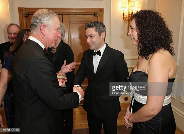 Prince Charles Prince of Wales meets Prince's Trust Young Entrepreneur Duane Jackson at a reception for the Prince's Trust Invest in Futures Gala...