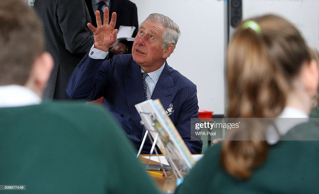 <a gi-track='captionPersonalityLinkClicked' href=/galleries/search?phrase=Prince+Charles&family=editorial&specificpeople=160180 ng-click='$event.stopPropagation()'>Prince Charles</a>, Prince of Wales meets pupils during a visit to Ashley Primary School on February 10, 2016 in Walton-on-Thames, England.