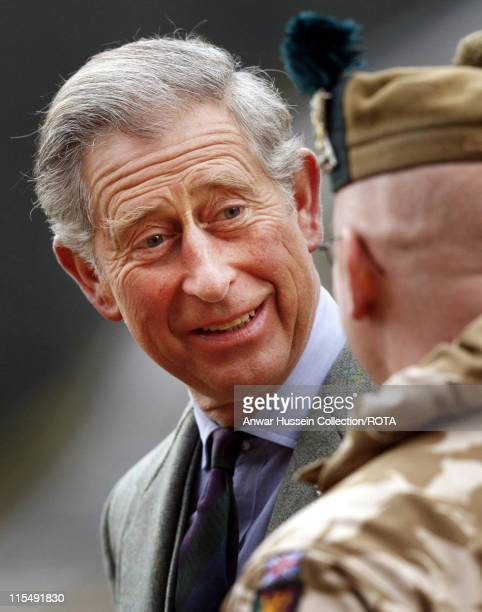 Prince Charles Prince of Wales meets Territorial Army soldiers who served in Iraq during a presentation ceremony at his private Scottish home...