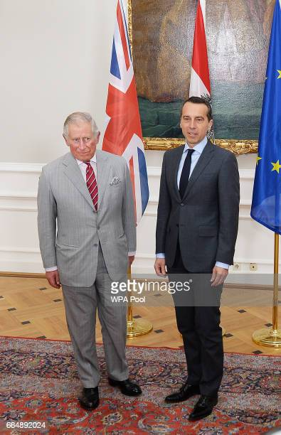 Prince Charles Prince of Wales meets the Chancellor of Austria Christian Kern at the Federal Chancellery on April 5 2017 in Vienna Austria Her Royal...