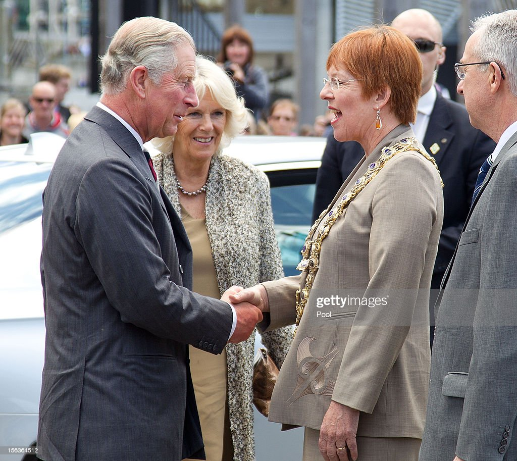 Prince Charles, Prince of Wales meets the Mayor of Wellington Celia Wade-Brown during a walkabout along the wharf waterfront on November 14, 2012 in Wellington, New Zealand. The Royal couple are in New Zealand on the last leg of a Diamond Jubilee that takes in Papua New Guinea, Australia and New Zealand.