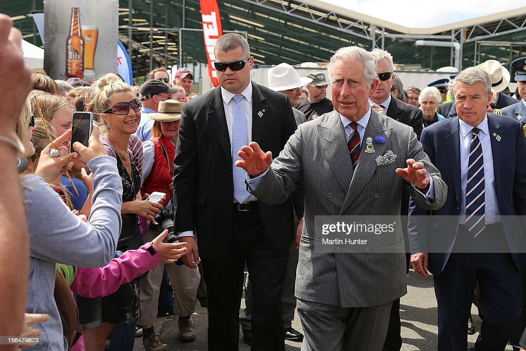 <a gi-track='captionPersonalityLinkClicked' href=/galleries/search?phrase=Prince+Charles+-+Prince+of+Wales&family=editorial&specificpeople=160180 ng-click='$event.stopPropagation()'>Prince Charles</a>, Prince of Wales meets the public during a walk- about at Canterbury A&P Show on November 16, 2012 in Christchurch, New Zealand.The Royal couple are in New Zealand on the last leg of a Diamond Jubilee that takes in Papua New Guinea, Australia and New Zealand.