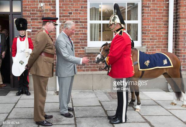 Prince Charles Prince of Wales meets the regimental pony as he visits the Royal Welsh Regimental Museum during The Prince of Wales' annual Summer...