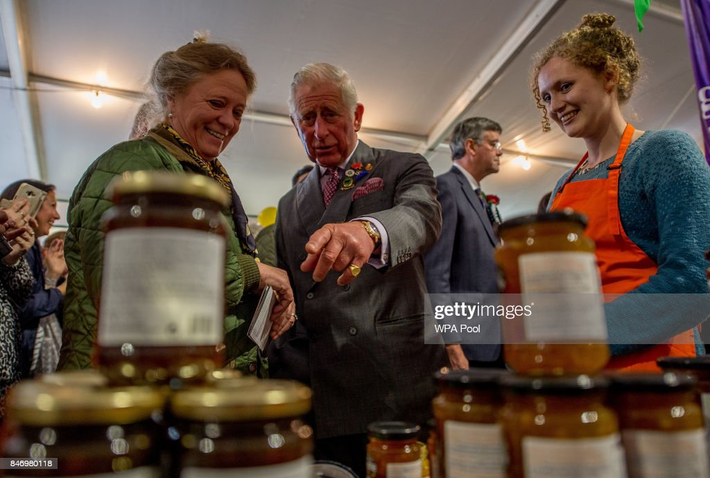Prince Charles, Prince of Wales meets the stall holders at the Dalemain Marmalade as he visits The Westmorland County Show on September 14, 2017 in Milnthorpe, England. During his tour of the Westmorland Show Prince Charles presented prizes and toured the many farm animal displays and exhibition marquees.
