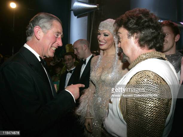 Prince Charles Prince of Wales meets Tim Curry during The Royal Variety Performance Backstage at The Coliseum in London Great Britain